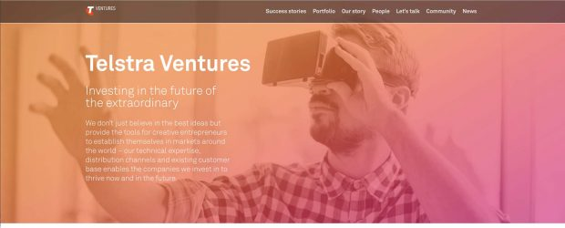 Telstra Venture home page with the moto - Invest in the future of the extraordinary